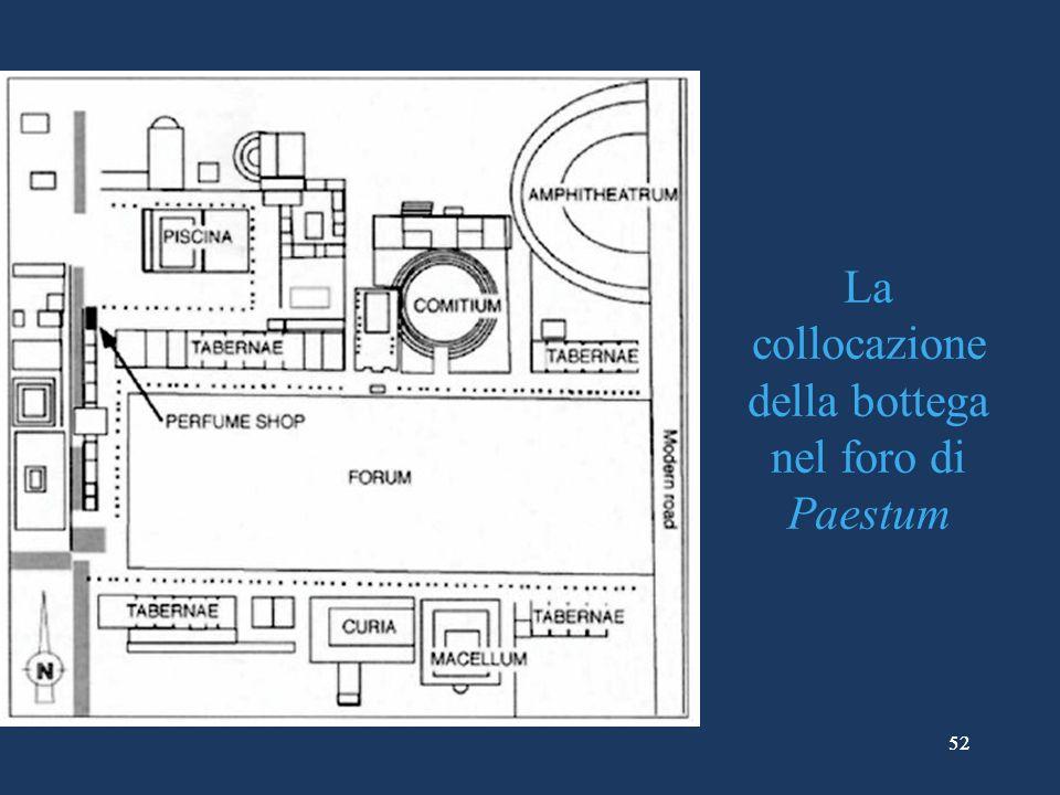 La collocazione della bottega nel foro di Paestum