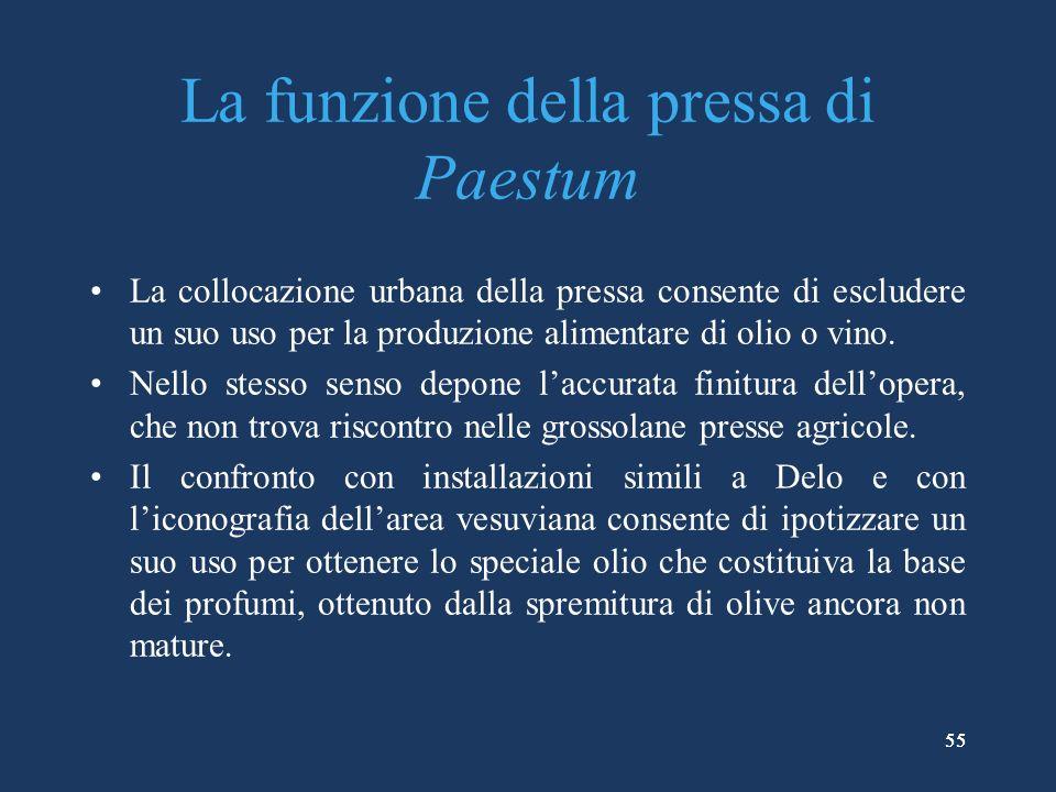 La funzione della pressa di Paestum