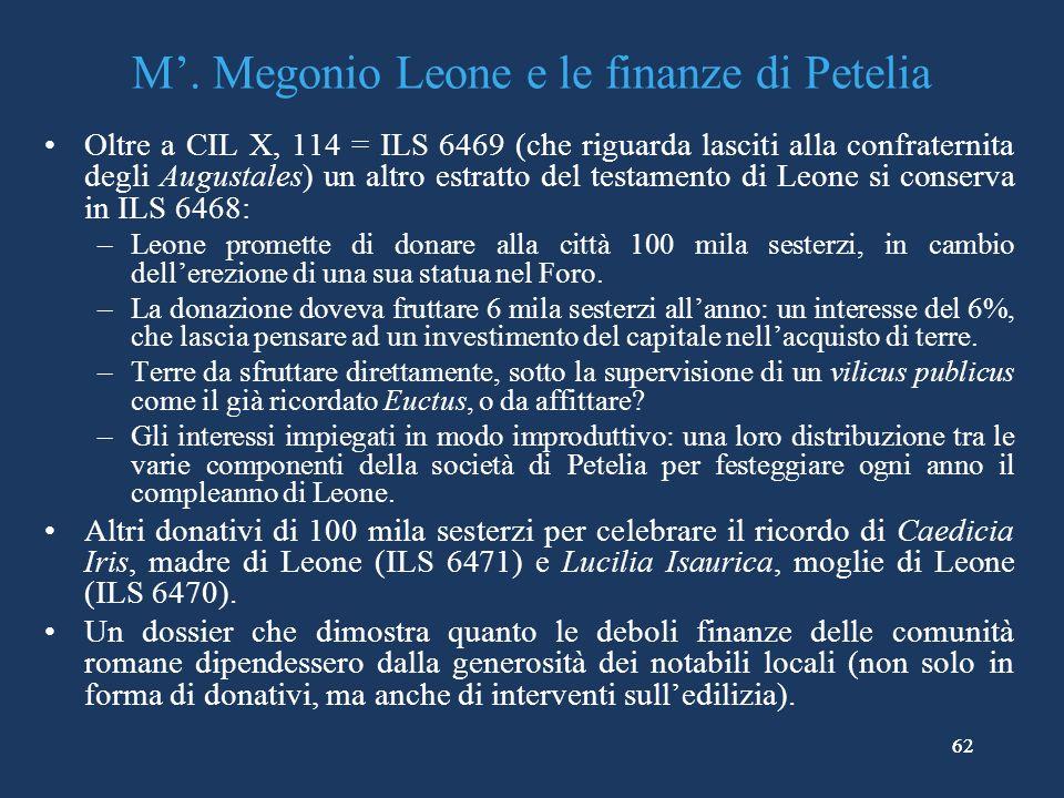 M'. Megonio Leone e le finanze di Petelia