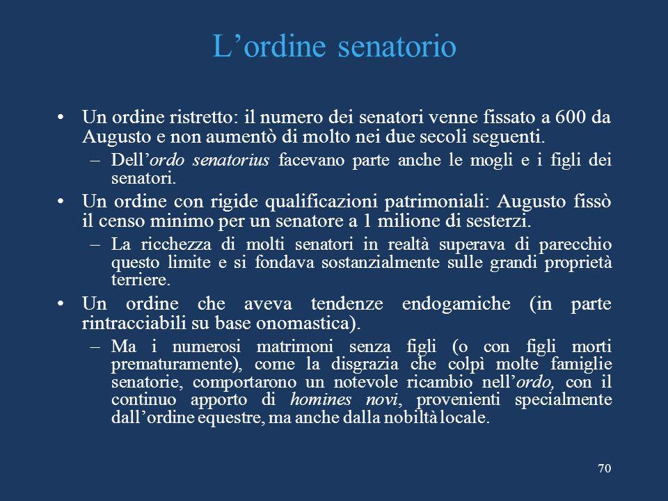 L'ordine senatorio Un ordine ristretto: il numero dei senatori venne fissato a 600 da Augusto e non aumentò di molto nei due secoli seguenti.