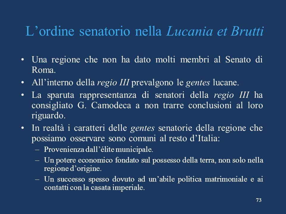 L'ordine senatorio nella Lucania et Brutti