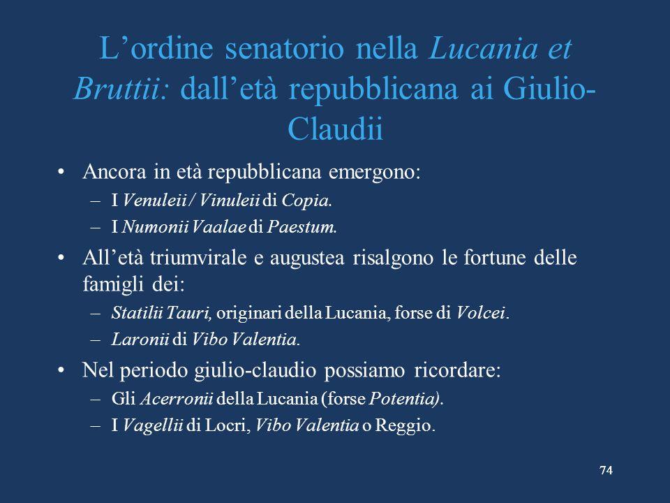 L'ordine senatorio nella Lucania et Bruttii: dall'età repubblicana ai Giulio-Claudii