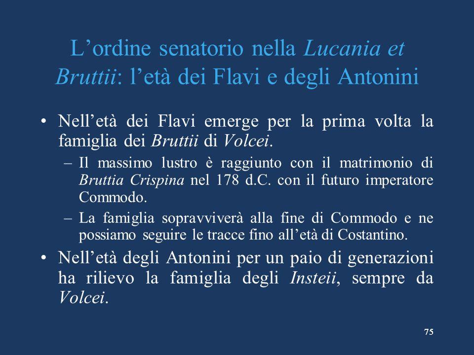 L'ordine senatorio nella Lucania et Bruttii: l'età dei Flavi e degli Antonini