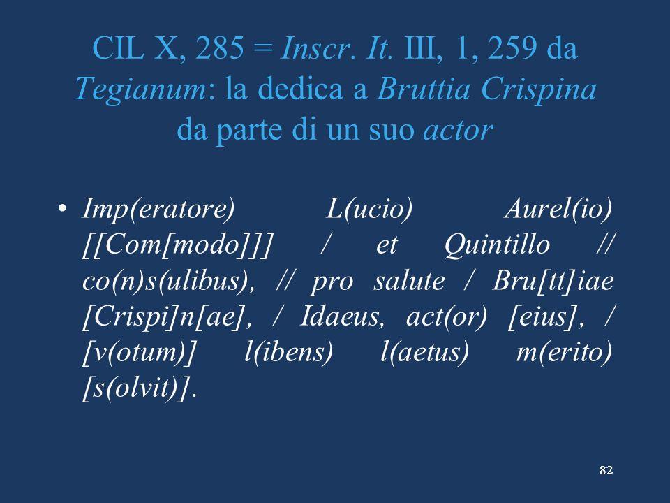 CIL X, 285 = Inscr. It. III, 1, 259 da Tegianum: la dedica a Bruttia Crispina da parte di un suo actor