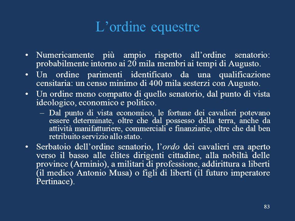 L'ordine equestre Numericamente più ampio rispetto all'ordine senatorio: probabilmente intorno ai 20 mila membri ai tempi di Augusto.