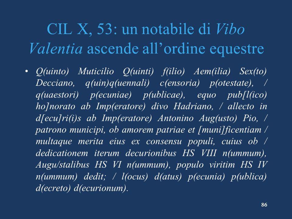 CIL X, 53: un notabile di Vibo Valentia ascende all'ordine equestre
