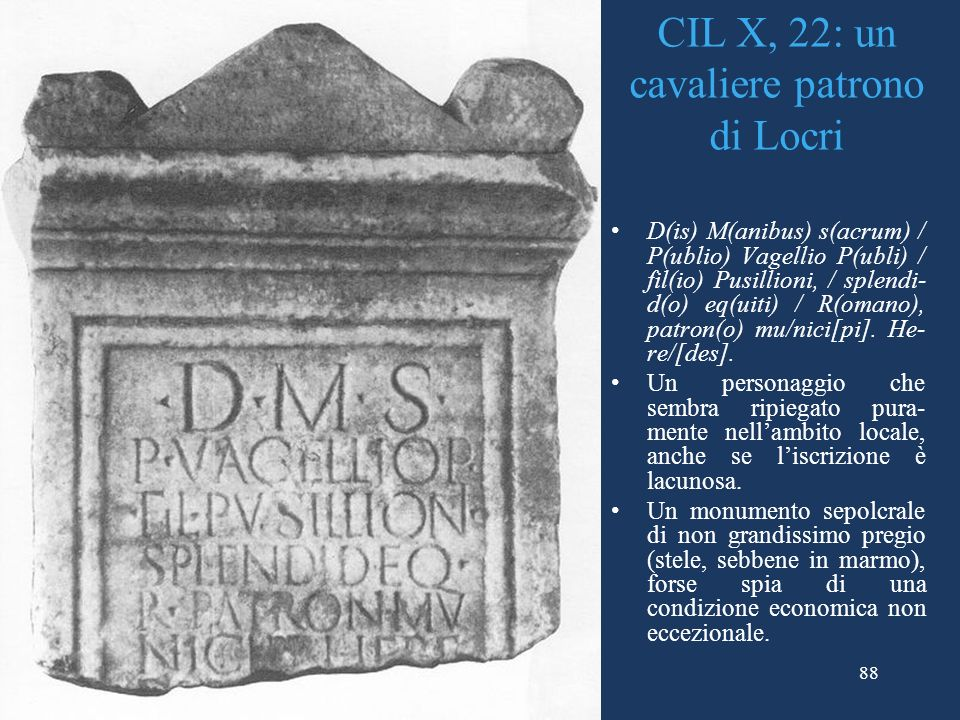 CIL X, 22: un cavaliere patrono di Locri