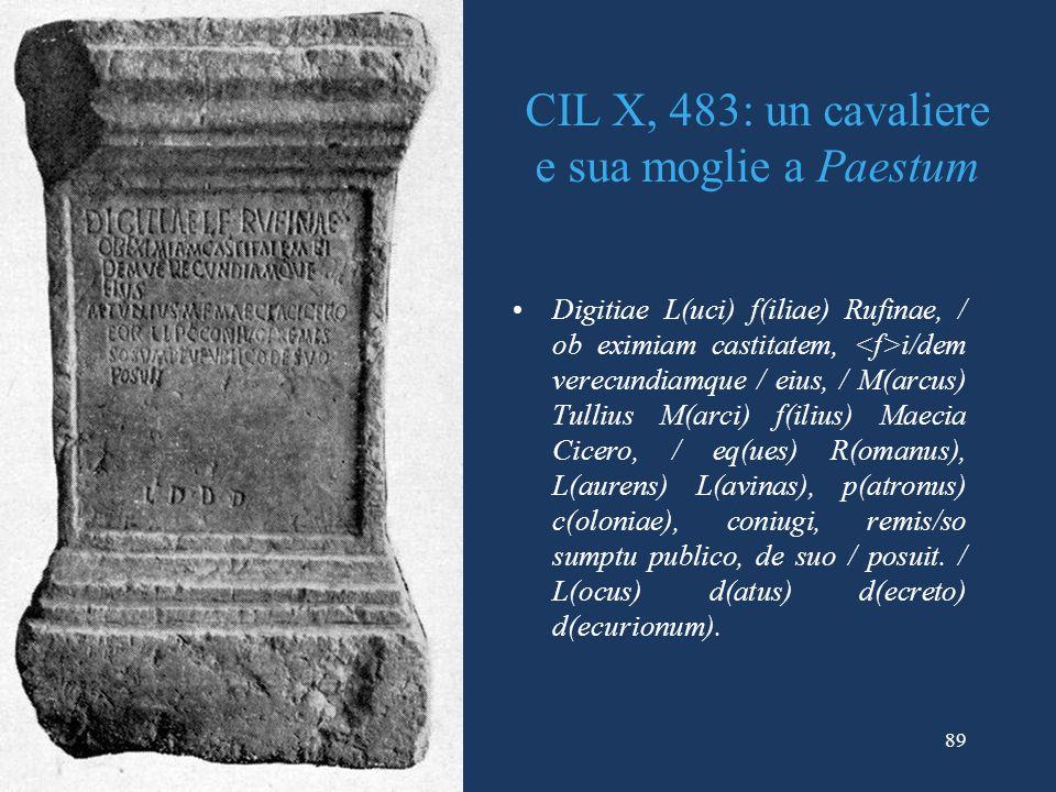 CIL X, 483: un cavaliere e sua moglie a Paestum