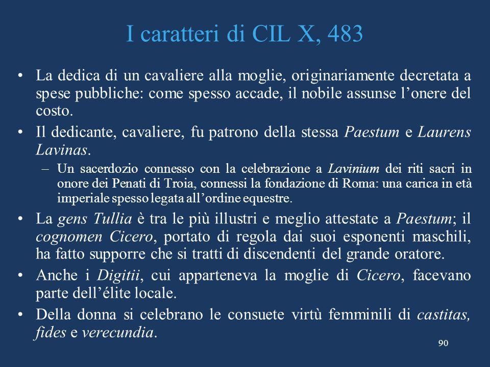 I caratteri di CIL X, 483