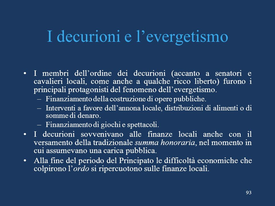 I decurioni e l'evergetismo