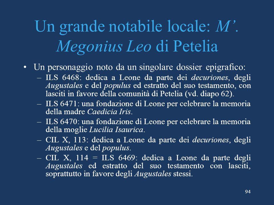 Un grande notabile locale: M'. Megonius Leo di Petelia
