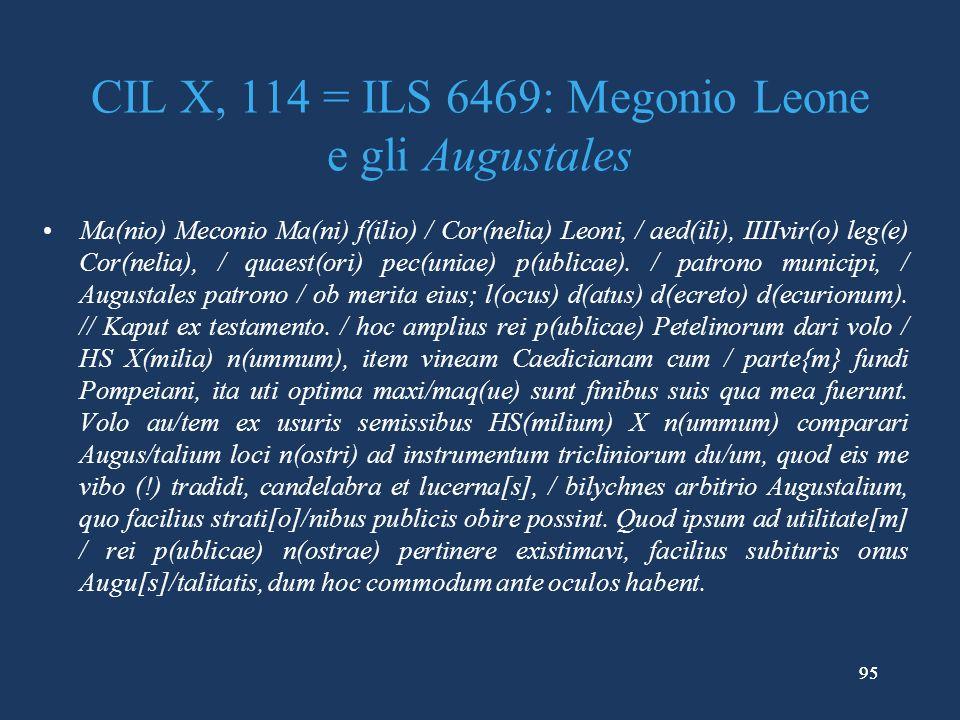 CIL X, 114 = ILS 6469: Megonio Leone e gli Augustales
