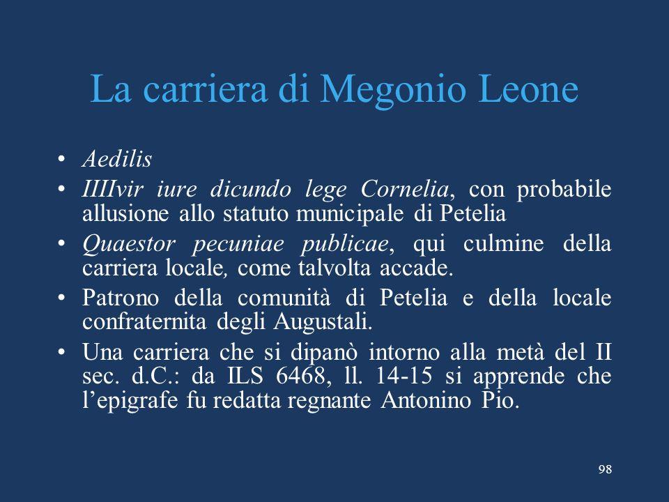 La carriera di Megonio Leone