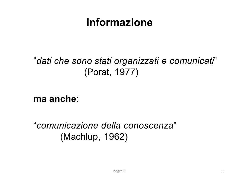 informazione dati che sono stati organizzati e comunicati (Porat, 1977) ma anche: comunicazione della conoscenza (Machlup, 1962)
