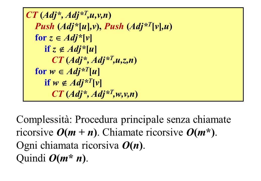 Ogni chiamata ricorsiva O(n). Quindi O(m* n).