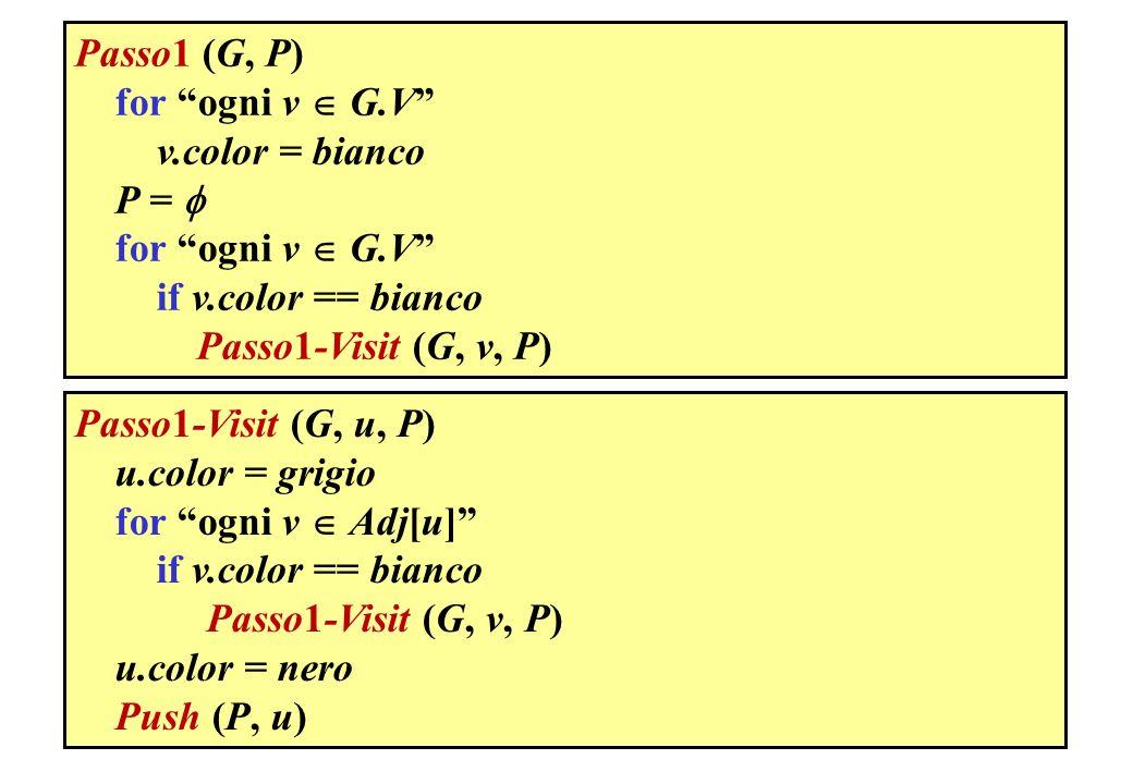 Passo1 (G, P) for ogni v  G.V v.color = bianco. P =  if v.color == bianco. Passo1-Visit (G, v, P)