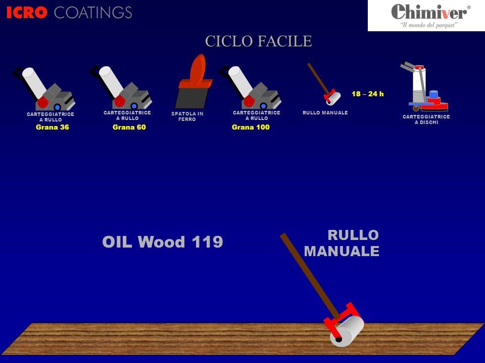 ICRO COATINGS CICLO FACILE OIL Wood 119 RULLO MANUALE 18 – 24 h