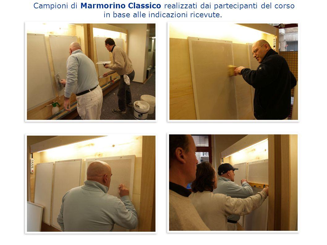 Campioni di Marmorino Classico realizzati dai partecipanti del corso