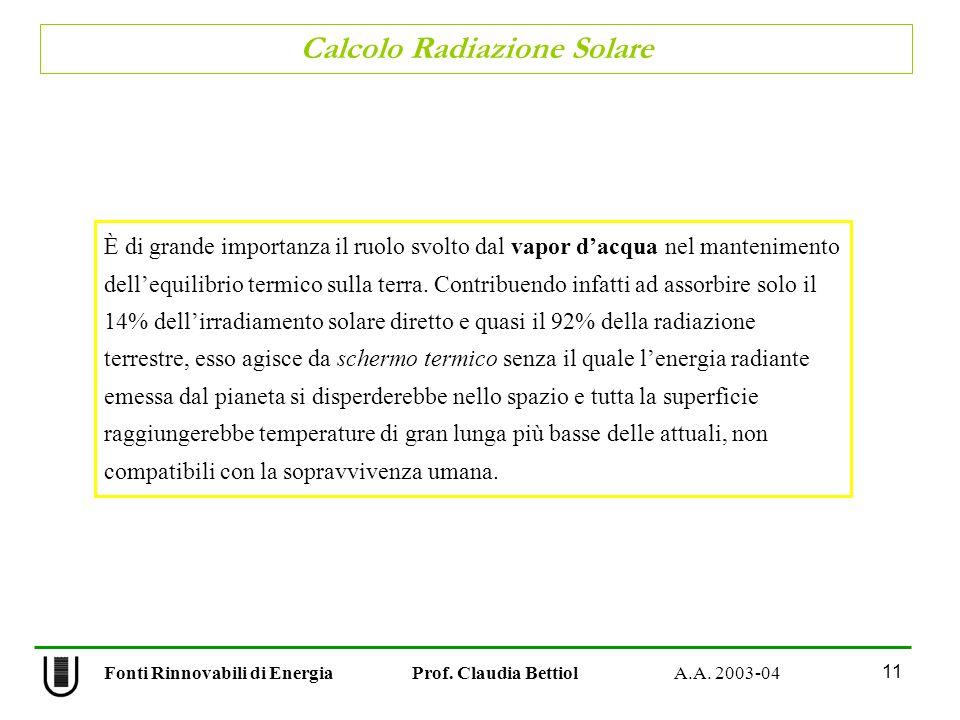 Fonti Rinnovabili di Energia Prof. Claudia Bettiol A.A. 2003-04