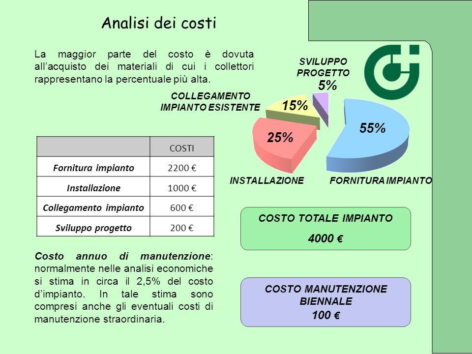 Analisi dei costi 5% 15% 55% 25% 4000 € 100 €
