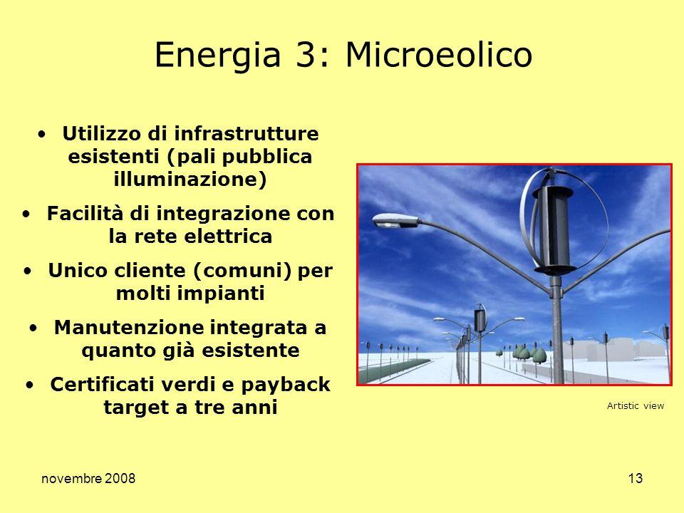 Energia 3: Microeolico Utilizzo di infrastrutture esistenti (pali pubblica illuminazione) Facilità di integrazione con la rete elettrica.