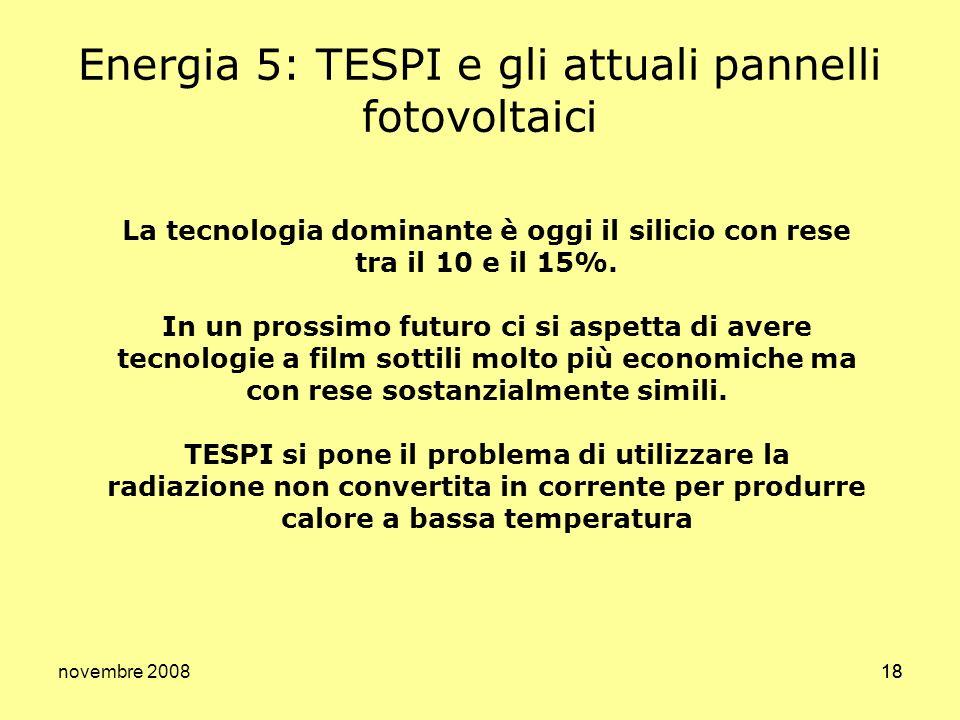 Energia 5: TESPI e gli attuali pannelli fotovoltaici