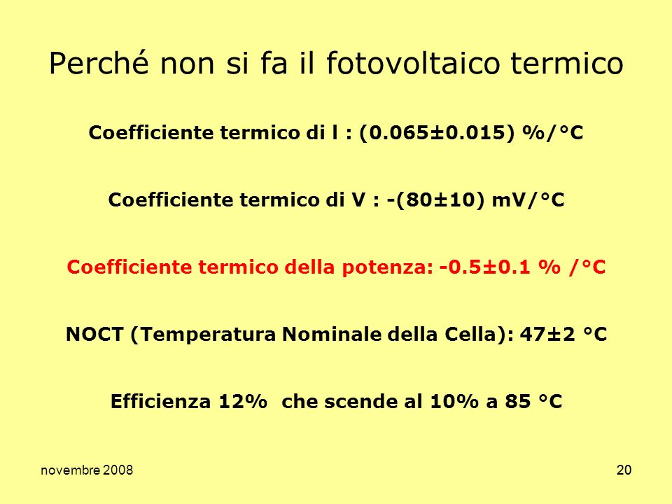 Perché non si fa il fotovoltaico termico