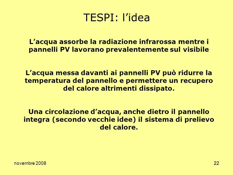 TESPI: l'idea L'acqua assorbe la radiazione infrarossa mentre i pannelli PV lavorano prevalentemente sul visibile.