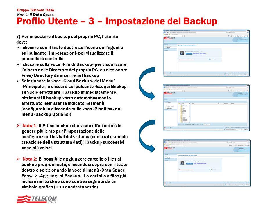 Profilo Utente – 3 – Impostazione del Backup