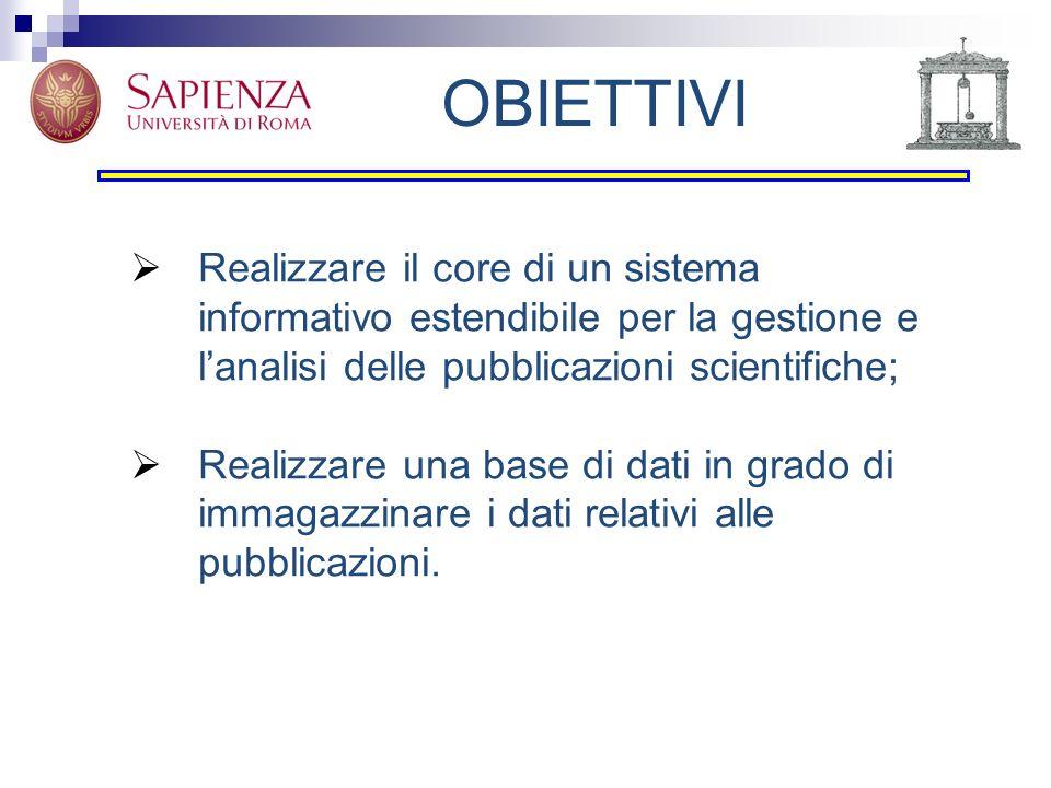 OBIETTIVI Realizzare il core di un sistema informativo estendibile per la gestione e l'analisi delle pubblicazioni scientifiche;