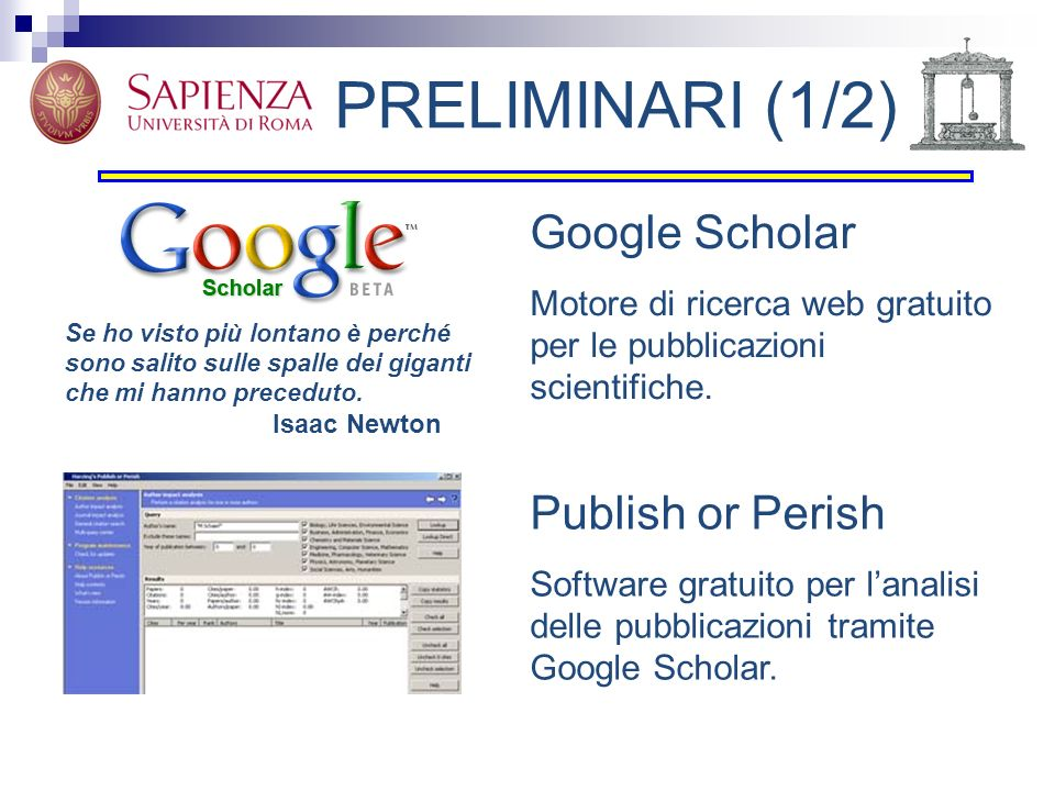 PRELIMINARI (1/2) Google Scholar Publish or Perish