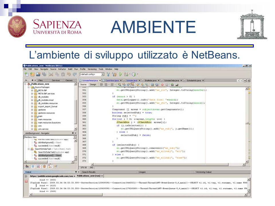 AMBIENTE L'ambiente di sviluppo utilizzato è NetBeans.