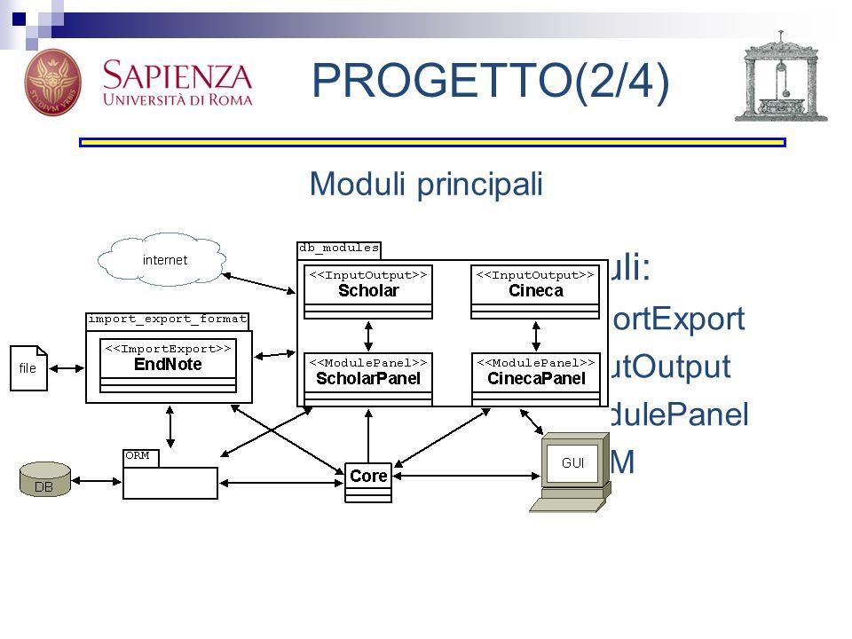 PROGETTO(2/4) Moduli: Moduli principali ImportExport InputOutput