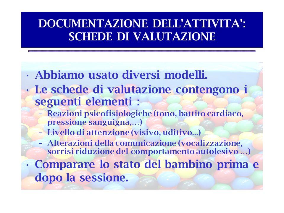 DOCUMENTAZIONE DELL'ATTIVITA': SCHEDE DI VALUTAZIONE