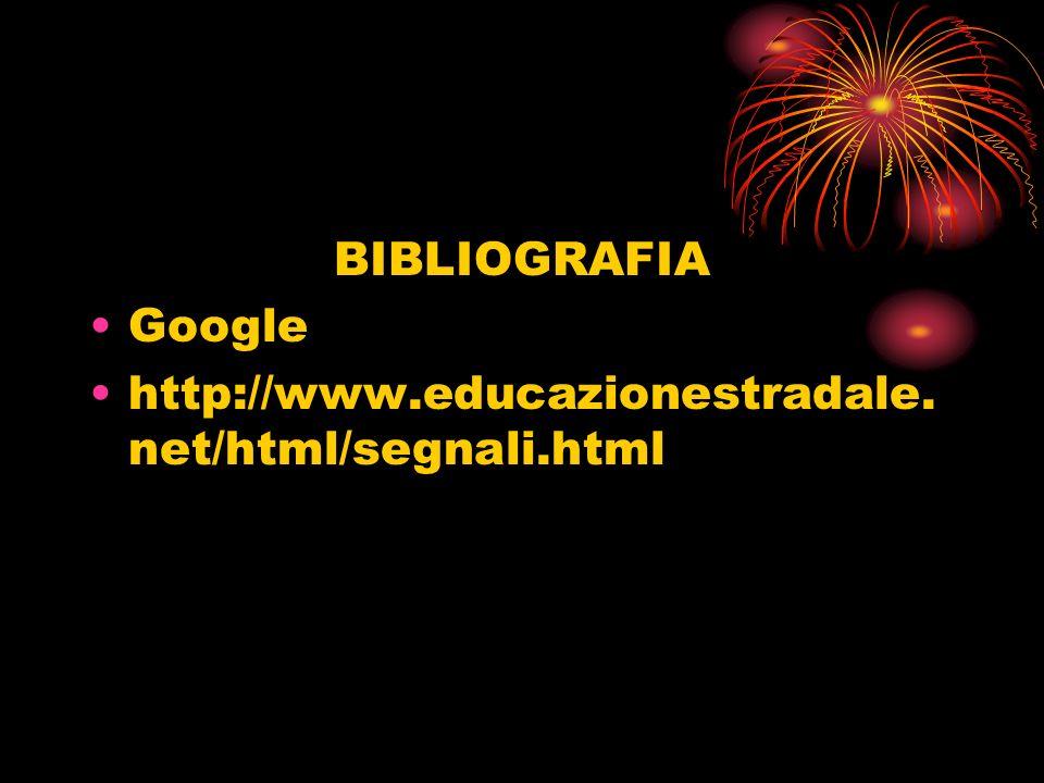 BIBLIOGRAFIA Google http://www.educazionestradale.net/html/segnali.html
