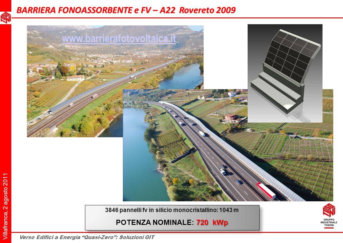 3846 pannelli fv in silicio monocristallino: 1043 m