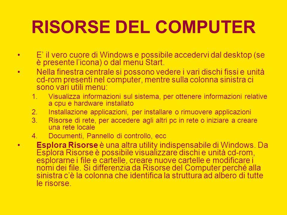 RISORSE DEL COMPUTER E' il vero cuore di Windows e possibile accedervi dal desktop (se è presente l'icona) o dal menu Start.