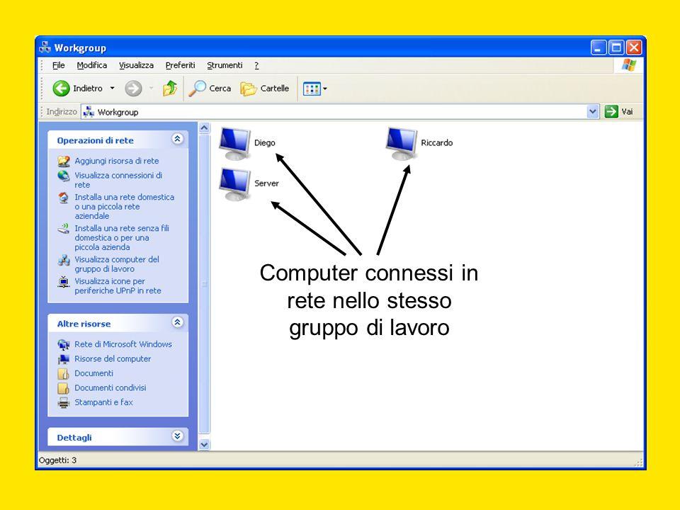 Computer connessi in rete nello stesso gruppo di lavoro