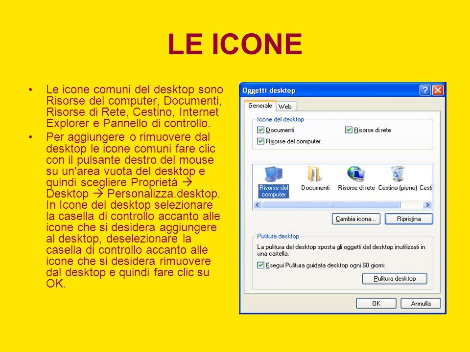 LE ICONE Le icone comuni del desktop sono Risorse del computer, Documenti, Risorse di Rete, Cestino, Internet Explorer e Pannello di controllo.