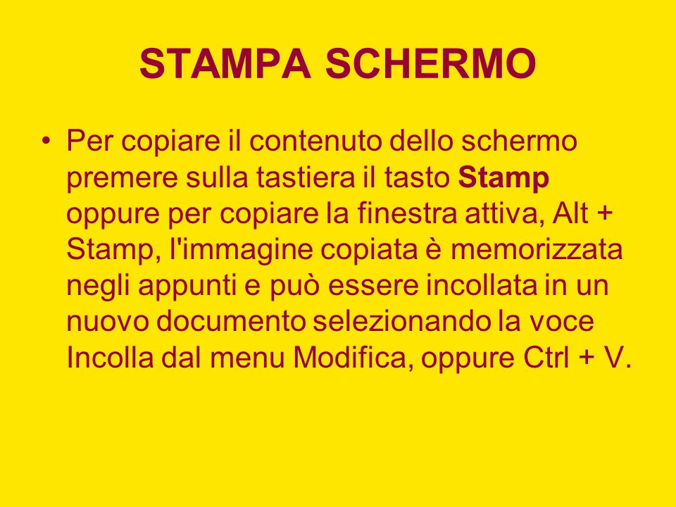 STAMPA SCHERMO