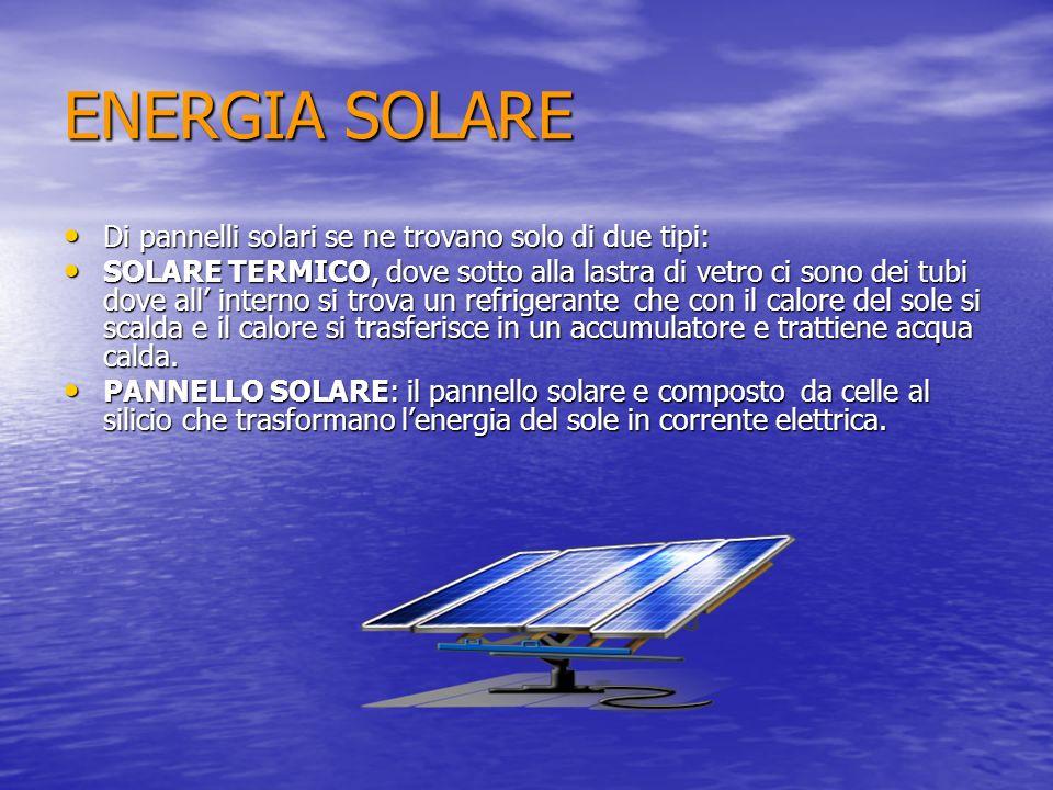 ENERGIA SOLARE Di pannelli solari se ne trovano solo di due tipi: