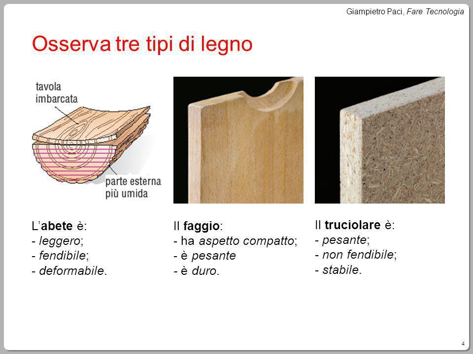 Osserva tre tipi di legno