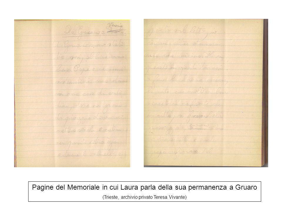 Pagine del Memoriale in cui Laura parla della sua permanenza a Gruaro