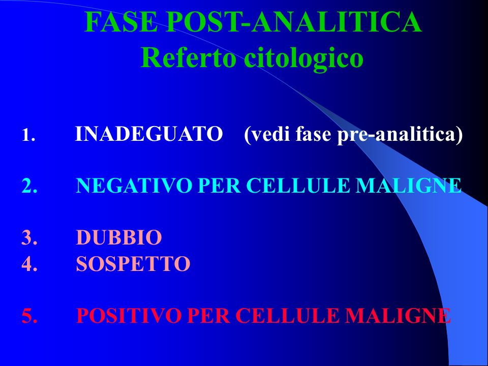 FASE POST-ANALITICA Referto citologico NEGATIVO PER CELLULE MALIGNE