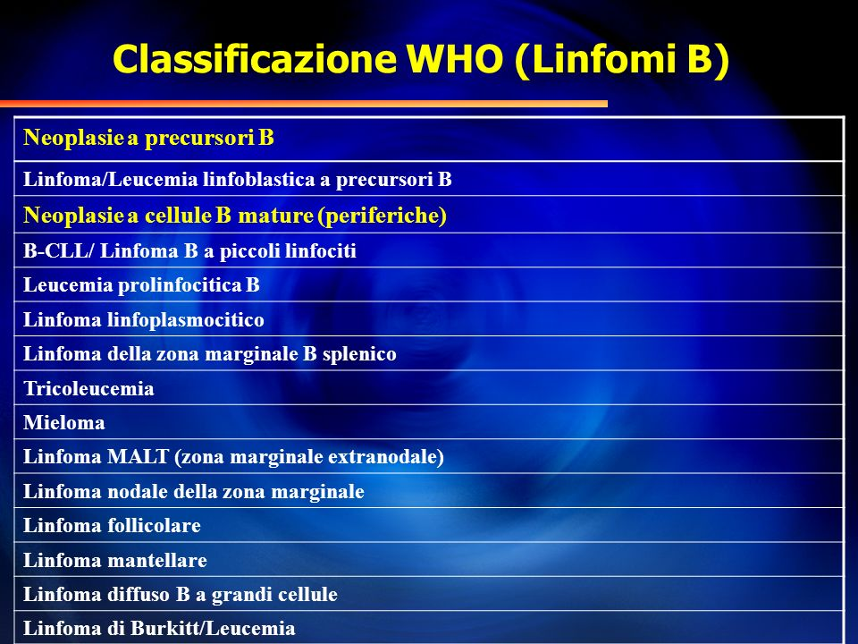 Classificazione WHO (Linfomi B)