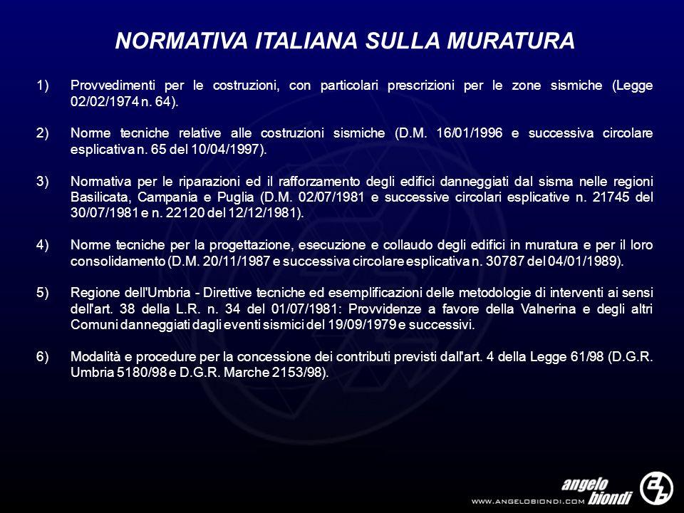 NORMATIVA ITALIANA SULLA MURATURA