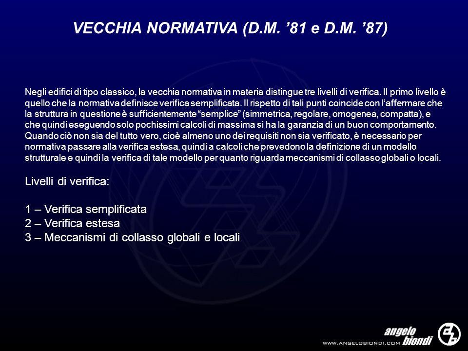 VECCHIA NORMATIVA (D.M. '81 e D.M. '87)