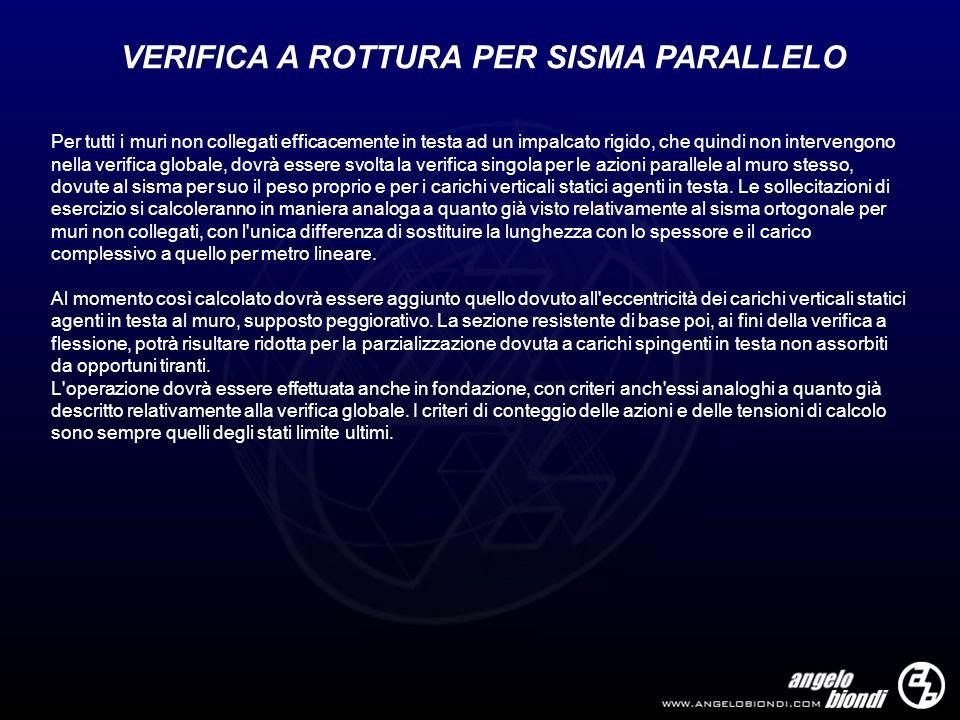 VERIFICA A ROTTURA PER SISMA PARALLELO