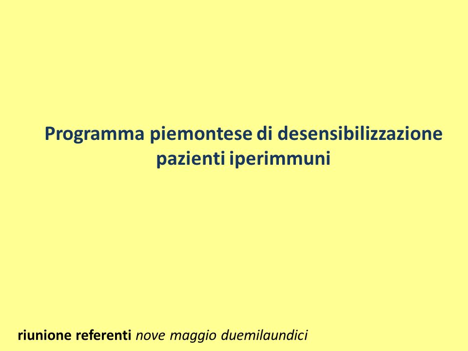 Programma piemontese di desensibilizzazione