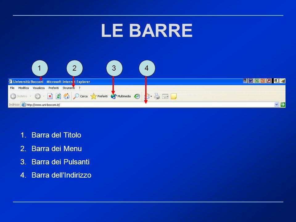 LE BARRE 1 2 3 4 Barra del Titolo Barra dei Menu Barra dei Pulsanti